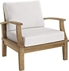 Modway EEI-1143-NAT-WHI-SET Marina Premium Grade A Teak Wood Outdoor Patio Armchair, Natural White