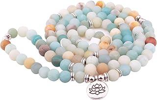 Adramata 8mm Mala Amazonite 108 Collana di Perline per Lo Yoga Rosario Buddista Bracciale di Preghiera di Preghiere Fatto ...
