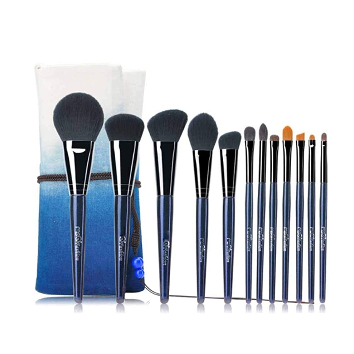 手順神話冗談でAishanghuayi001 化粧ブラシ、12個の化粧ブラシセット、化粧ブラシのフルセット、収納袋付き、初心者用化粧ブラシセット,ナチュラルメイク (Color : Blue)