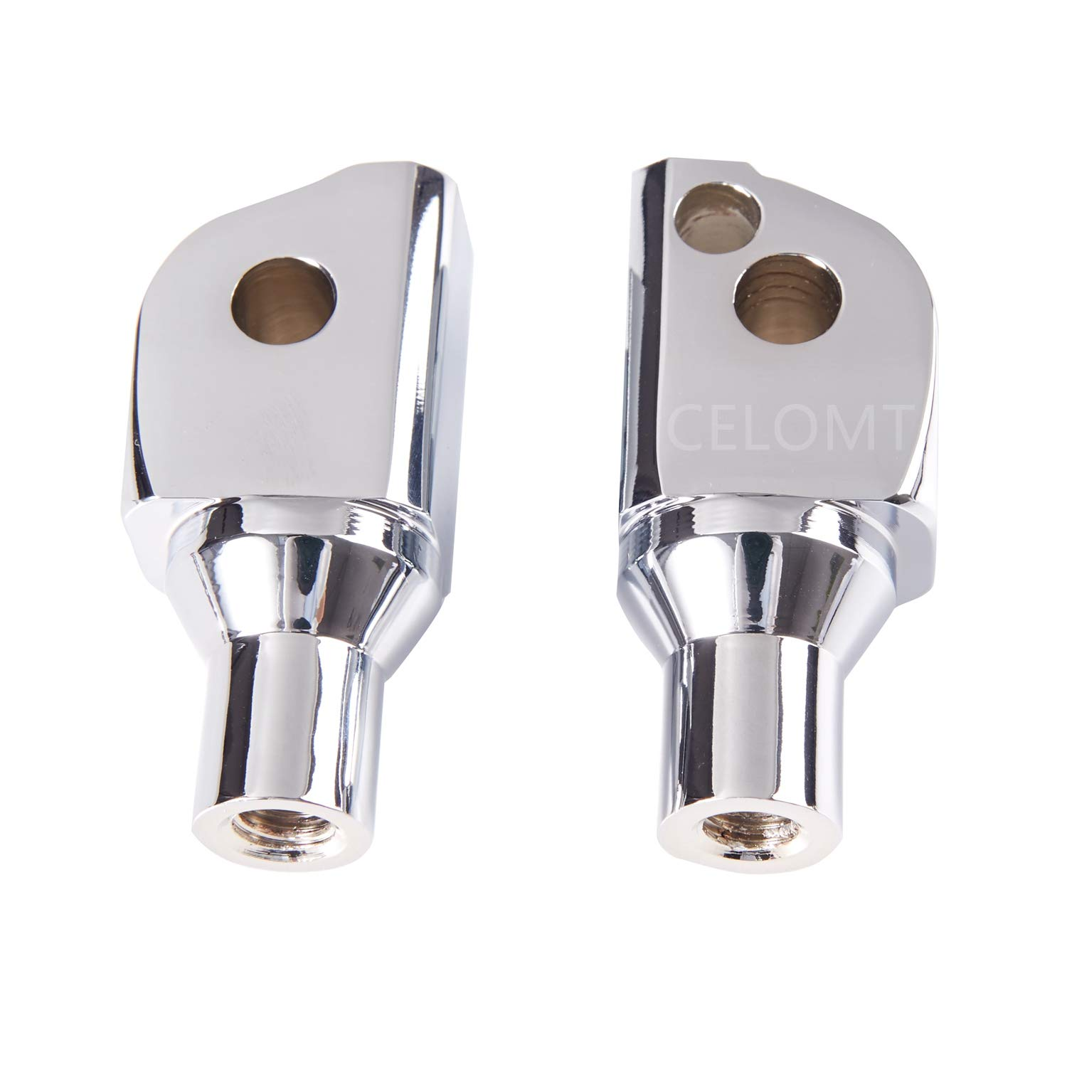 Chrome Rear Passenger Foot Pegs Adapters Compatible With 2018-2020 Harley Softail Fat Boy Heritage Classic Deluxe Street Bob