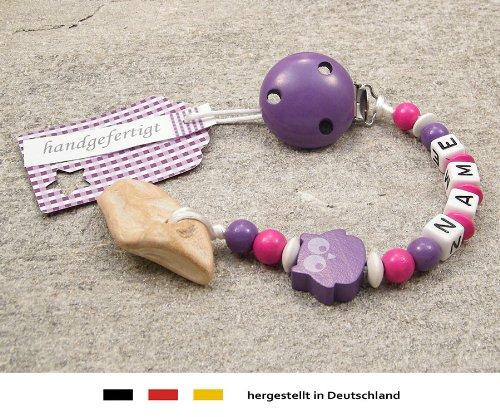 kleinerStorch Veilchenwurzel an Schnullerkette mit Namen - natürliche Zahnungshilfe Beißring für Babys - Schnullerhalter mit Wunschnamen - Mädchen Motiv Eule in lila