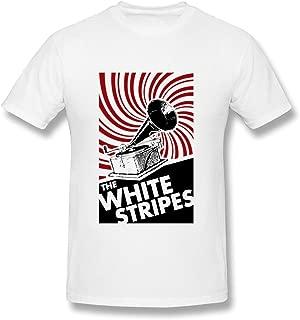 DMENDO Men's The White Stripes Band Art Design T-Shirt White