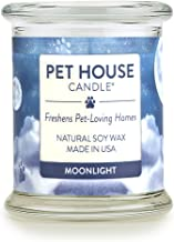 One Fur All - 100% Natural Soy Wax Candle, 20 Fragrances - Pet Odor Eliminator, Up to 60 Hours Burn Time, Non-Toxic, Eco-Friendly Reusable Glass Jar Scented Candles – Pet House Candle, Moonlight