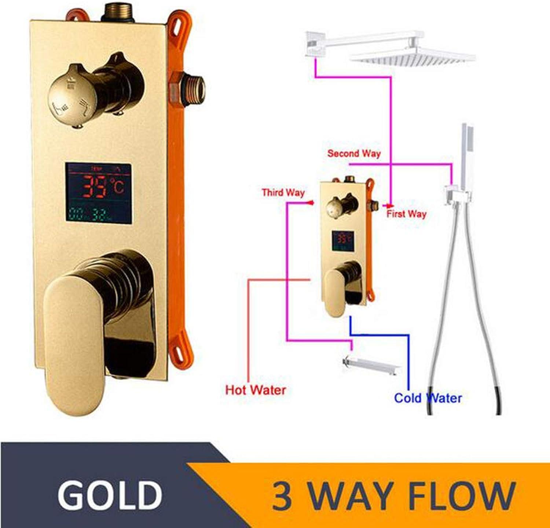 MICHEN LED Digitalanzeige Duschpaneel Mischventil Unterputz Dusche 2 3 Wege Mischbatterie Digitalanzeige Duscharmatur Zubehr,Gold3Way