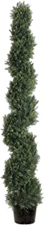 Silk Décor Spiral Cedar Topiary in Plastic Pot, 6-Feet, Green