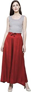 TNQ Women's Rayon Sharara/Skirt Palazzos/Soft Rayon Full Flared Palazzo With 2 Side Pockets Free to Plus Size