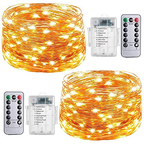 Fairy String Lights, 2 Set 20ft 60 Led Fairy Lights Battery Operated Waterproof Copper Wire Lights with Remote, 8 Mode Decorative Light for Home Bedroom Xmas Centerpiece Party Wedding (Warm White)