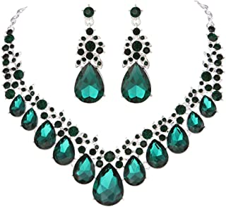 0bc90a2c74e412 Youfir Bridal Rhinestone Crystal V-Shaped Teardrop Wedding Necklace and  Earring Jewelry Sets for Brides