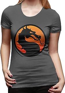 Mary West Mortal-Kombat Logo Camiseta de Manga Corta de Corte clásico para Mujer Camisetas de Manga Corta Camiseta con Cue...