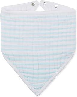 aden + anais Classic Bandana Bib; 100% Cotton Muslin; Soft Absorbent 3 Layers; Adjustable; 8.5'' X 16''; Single; Thistle - Light Blue Stripe