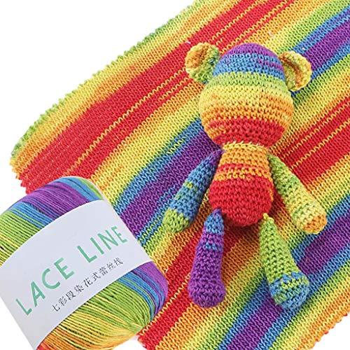 Goneryisour - Hilo de algodón de colores degradados para tejer a mano, hilo de coser para vestido/suéter/bufanda de muñeca/manta de cojín, 1 rollo