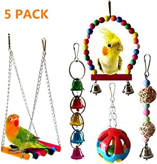 5pcs Bird Parrot Toys Hanging Bell Pet Bird Cage Hammock Swing Toy Hanging Toy for Small Parakeets Cockatiels,  Conures,  Macaws,  Parrots,  Love Birds,  Finches