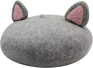 leomoste Wool Beret Cute French Hat Artist Cap Solid Color Winter Hat Beanie with Cute Cat Ear for Women