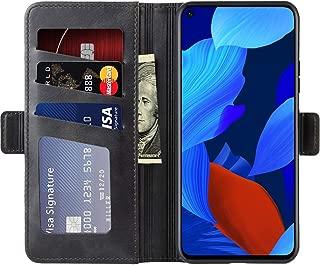 HUAWEI nova 5T ケース 手帳型 財布 カード 収納 スタンド カードポケット付き 二つ折り スマホ マグネット 耐衝撃 滑り止め 指紋防止 充電対応 革 高級PU lg レザー huawei nova 5T カバー (Huawei Nova 5T, ブラック)