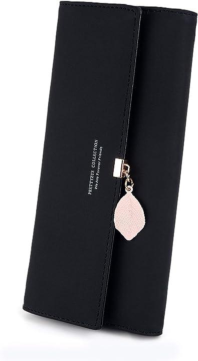 Portafoglio donna cerniera lunga con portamonete pendente in pelle foglia pu charltu ITRRD01