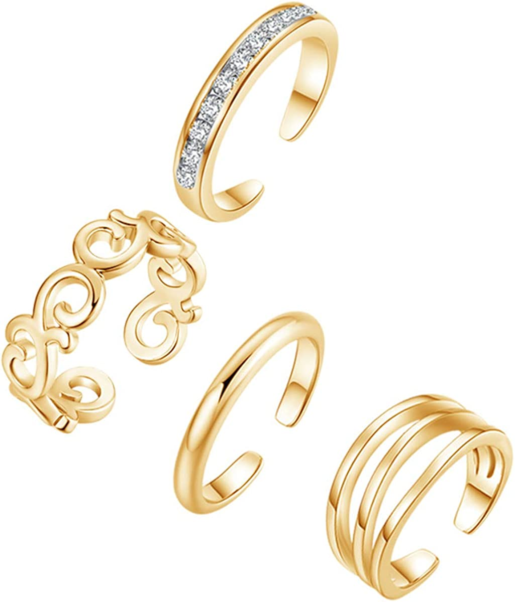 YAZILIND Sexy Simple Foot Toe Ring Opening Adjustable Feet Rings Set Jewelry-4 Pieces