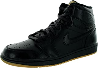 Jordan Nike Mens Air 1 Retro High OG Black/Black Gum Light Brown Basketball Shoe