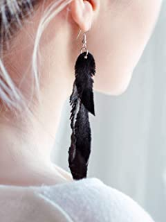 Black suede leather Feather Earrings, layered earrings, tribal Earrings, Boho earrings, dangle earrings, long earrings