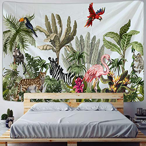 KHKJ Palm Tree Tapestry Wall Hanging Tropical Leaves Flowers Pattern Animal Backdrop Wall Cloth Carpet Tapestries A16 200x150CM