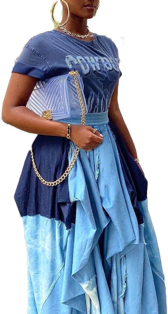 Pulkritu Women Irregular Maxi Skirts - Vintage Patchwork Plaid Long Skirt (Light Blue,XL)