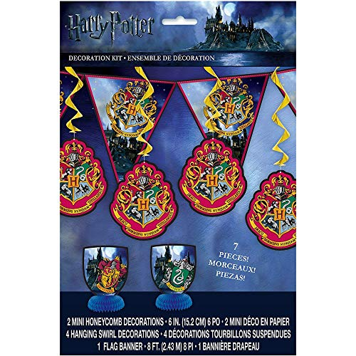 Unique Party-Warner Bros 59081 Kit de Decoración de Harry Potter Conjunto de 7, Multicolor, Talla única