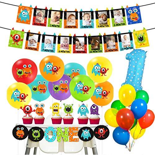 """MMXT Monster 1. Geburtstag Dekorationen Kit, Baby Foto Banner Nummer Eins Ballon 12 """"Latex Ballons Monster Bash für Jungen Geburtstag Baby Shower Party Dekoration"""