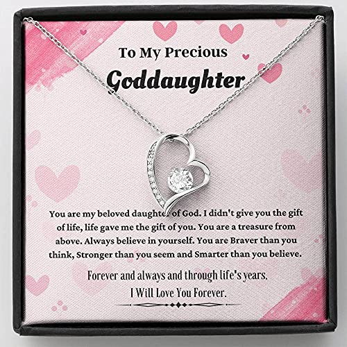 Personalized Necklace Gift, Goddaughter Gifts from Godmother- Goddaughter Baptism, Goddaughter Forever Love Necklace, First Communion, Girl Birthday, Christening, With Message Card & Box V20