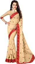 Indian Sarees for Women Designer Party Wear Traditional Chiku Sari.