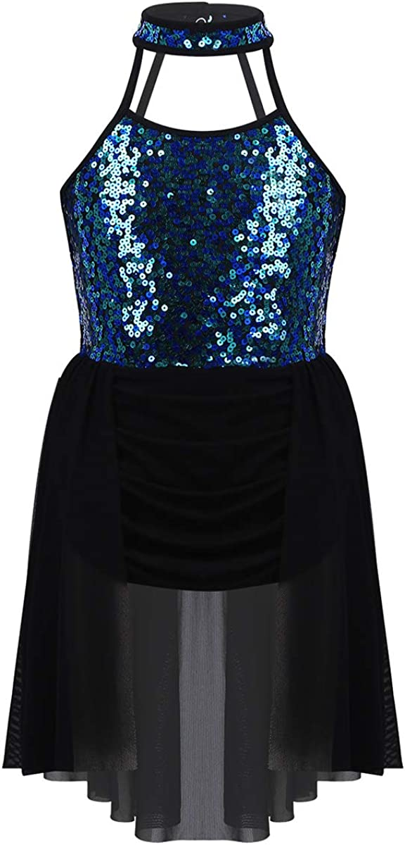 MSemis Big Girls High Halter Neck Sequins Bodice High Low Skirs Modern Jazz Ballet Lyrical Dance Dress