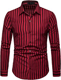 Elegeet Men's Long Sleeve Classic Casual Slim Fit Vertical Striped Button Down Shirt