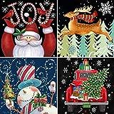 4 Pack DIY 5D Diamond Painting Kits,CCOZN Full Drill Christmas Santa Claus Snowman Reindeer Car Rhinestone Diamond Painting for Beginner Adults Diamond Arts Home Wall Decor, 9.8 X 9.8inch