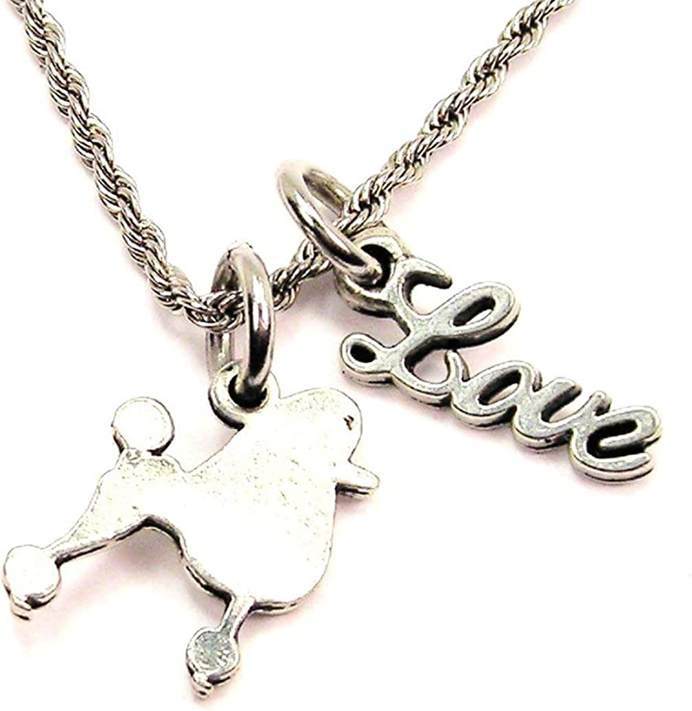 ChubbyChicoCharms Poodle Silhouette Rope Chain Cursive Love Necklace