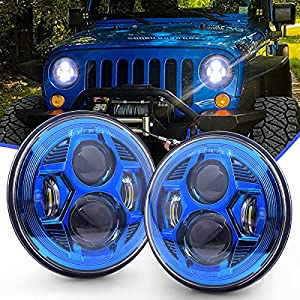 7 Inch Led Headlights with High / Low Beam Compatible with Jeep Wrangler JK LJ CJ TJ 1997-2018 DOT Approved 7