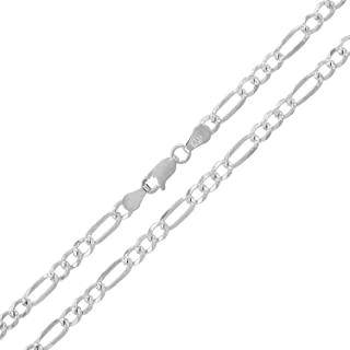 In Style Designz .925 Solid Sterling Silver Figaro Link Diamond-Cut White Pave ITProLux Necklace Chains 2MM - 10.5MM, 16