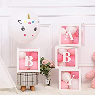 Baby Shower Decorations Balloons Boxes �White 4 pcs Transparent Balloons D�cor Boxes with Letter, Boys Girls Baby Shower Bridal Weeding Birthday Party Gender Reveal Backdrop Supplies