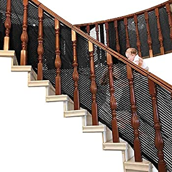 MAYbabe Netting- Banister Guard for Child Safety Net Rail Balcony Banister Stair Net.Patios or Balcony Use.Safety for Indoor&Outdoor 10ft-Black-First Generation