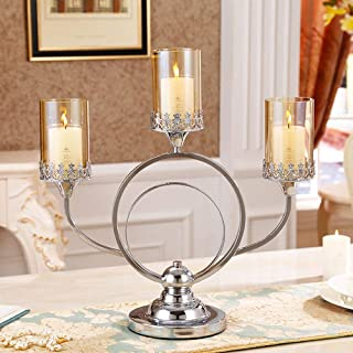 KMYX Modern 3-Armed Minimalist Candlelight Dinner Props Creative Candlestick Wedding Romantic Decoration Metal Candle Holder Decoration Glass Lantern