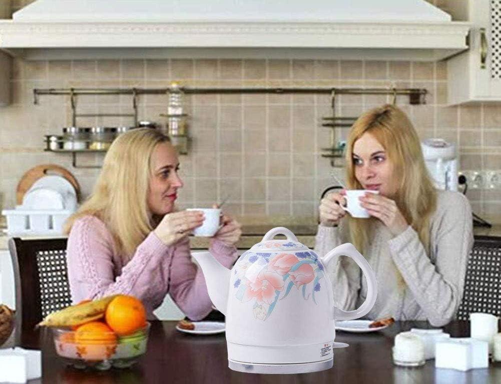 Wyxy Bouilloire électrique sans Fil en céramique Blanche avec théière rétro 1l, 1350w Rapide à l'eau pour Le thé, Le café, la Soupe Rapide (Couleur: B) B