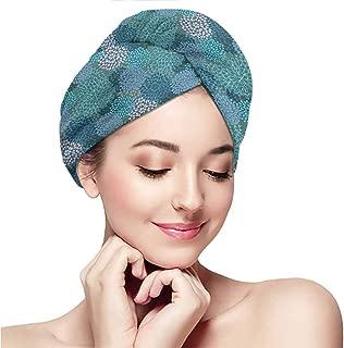 Ladies' swim caps,headscarves,Floral,Abstract Clove Petals Digital Featured Vibrant Circular Essence Bouquet Design,Petrol Blue Teal