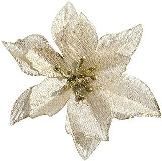 DERVONUNS Poinsettia Christmas Decorations Glitter Poinsettia Flowers for Christmas Tree Decorations(12Pack)(Gold)