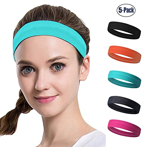 DASUTA Set of 5 Women s Yoga Sport Athletic Headband for Running Sports  Travel Fitness Elastic Wicking d057d4fa4c6