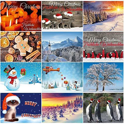Edition Colibri - Set di 12 cartoline natalizie, 12 motivi assortiti, paesaggi invernali e simpatici biglietti natalizi