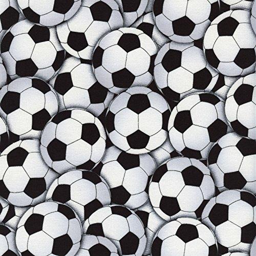 Timeless Treasires - Tela de fútbol (0,5 m, 100% algodón), color blanco y negro