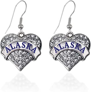 Silver Pave Heart Charm French Hook Drop Earrings with Cubic Zirconia Jewelry