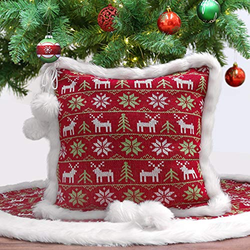 Christmas Pillow Cover with Pom Pom Balls and Faux Fur
