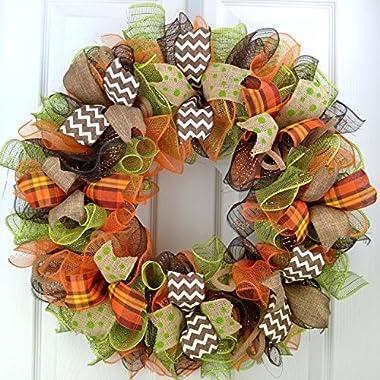 Fall Deco Mesh Wreaths | Thanksgiving Door Wreath; Brown Green Burlap Orange White : F1