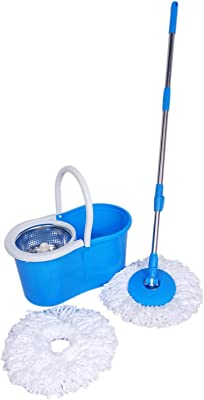 VXI Bucket Mop Plastic Magic Steel Spinar Cleaning for All Type of Floors, 360 Degree Spin,Multi color