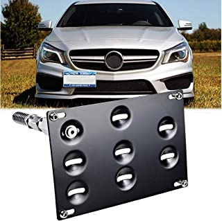 GTP Tow Hook License Plate Mounting Bracket for Mercedes GLA W204 W205 C-Class W212 W213 E-Class GLK GLC W166 ML GLE Class, No Drilling Front Bumper Tow Hole Relocation Kit
