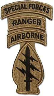 Special Forces OCP Patch with Airborne, Ranger, and Special Forces Tabs and Hook Fastener