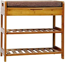 "C&AHOME 3-Tier Shoe Rack Bench, Entryway Storage Shelf Holds up to 240LBS, Bamboo Shoe Organizer, 20.5"" L x 11.6"" W x 19.3..."